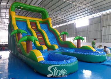 25' tobogán acuático inflable del carril doble arriba tropical con la piscina doble del fabricante inflable de China